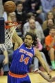 Apr 12, 2013; Cleveland, OH, USA; New York Knicks small forward Chris Copeland (14) dunks against the Cleveland Cavaliers in the first quarter at Quicken Loans Arena. Mandatory Credit: David Richard-USA TODAY Sports