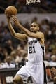 Apr 12, 2013; San Antonio, TX, USA; San Antonio Spurs forward Tim Duncan (21) drives to the basket against the Sacramento Kings during the first half at the AT&T Center. Mandatory Credit: Soobum Im-USA TODAY Sports