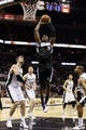 Apr 12, 2013; San Antonio, TX, USA; Sacramento Kings forward Patrick Patterson (9) dunks during the second half against the San Antonio Spurs at the AT&T Center. The Spurs won 108-101. Mandatory Credit: Soobum Im-USA TODAY Sports
