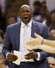 Apr 12, 2013; San Antonio, TX, USA; Sacramento Kings head coach Keith Smart argues a call during the second half against the San Antonio Spurs at the AT&T Center. Mandatory Credit: Soobum Im-USA TODAY Sports
