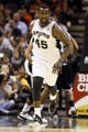 Apr 12, 2013; San Antonio, TX, USA; San Antonio Spurs forward DeJuan Blair (45) reacts after a shot against the Sacramento Kings during the second half at the AT&T Center. Mandatory Credit: Soobum Im-USA TODAY Sports
