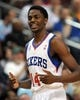 Apr 14, 2013; Philadelphia, PA, USA; Philadelphia 76ers shooting guard Justin Holiday (14) against the Cleveland Cavaliers during the first quarter at the Wells Fargo Center. Mandatory Credit: Eric Hartline-USA TODAY Sports