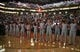 Apr. 15, 2013; Phoenix, AZ, USA: Houston Rockets players observe a moment of silence in memory of the Boston Marathon bombings prior to the game against the Phoenix Suns at the US Airways Center. Mandatory Credit: Mark J. Rebilas-USA TODAY Sports