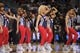 Apr 16, 2013; Atlanta, GA, USA; The Atlanta Hawks cheerleaders perform during the second half of the Atlanta Hawks game against the Toronto Raptors at Philips Arena. The Raptors won 113-96. Mandatory Credit: Paul Abell-USA TODAY Sports