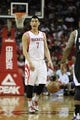 April 14, 2013; Houston, TX, USA; Houston Rockets point guard Jeremy Lin (7) dribbles the ball against the Sacramento Kings in the first quarter at the Toyota Center. Mandatory Credit: Brett Davis-USA TODAY Sports