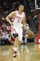 April 14, 2013; Houston, TX, USA; Houston Rockets shooting guard Francisco Garcia (32) dribbles the ball against the Sacramento Kings in the first quarter at the Toyota Center. Mandatory Credit: Brett Davis-USA TODAY Sports