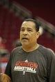 April 14, 2013; Houston, TX, USA; Houston Rockets assistant coach Kelvin Sampson prepares for a game against the Sacramento Kings at the Toyota Center. Mandatory Credit: Brett Davis-USA TODAY Sports