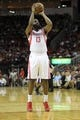 April 14, 2013; Houston, TX, USA; Houston Rockets shooting guard James Harden (13) shoots a free throw against the Sacramento Kings in the first quarter at the Toyota Center. Mandatory Credit: Brett Davis-USA TODAY Sports