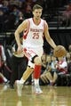 April 14, 2013; Houston, TX, USA; Houston Rockets small forward Chandler Parsons (25) dribbles the ball against the Sacramento Kings in the second quarter at the Toyota Center. Mandatory Credit: Brett Davis-USA TODAY Sports