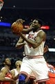 Apr 17, 2013; Chicago, IL, USA; Chicago Bulls center Nazr Mohammed (48) grabs a rebound against the Washington Wizards during the first half at the United Center. Mandatory Credit: David Banks-USA TODAY Sports