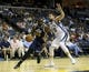 Apr 17, 2013; Memphis, TN, USA;  Utah Jazz center Al Jefferson (25) drives to the basket against Memphis Grizzlies center Marc Gasol (33) during the game at FedEx Forum.  Mandatory Credit: Spruce Derden   USA TODAY Sports
