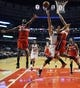 Apr 17, 2013; Chicago, IL, USA; Chicago Bulls shooting guard Marco Belinelli (8) is defended by Washington Wizards small forward Chris Singleton (31) and shooting guard Garrett Temple (17) at the United Center. Mandatory Credit: David Banks-USA TODAY Sports