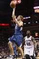 Apr 17, 2013; San Antonio, TX, USA; Minnesota Timberwolves  guard Luke Ridnour (13) shoots during the second half against the San Antonio Spurs at the AT&T Center. The Timberwolves won 108-95.  Mandatory Credit: Soobum Im-USA TODAY Sports