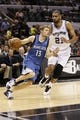 Apr 17, 2013; San Antonio, TX, USA; Minnesota Timberwolves  guard Luke Ridnour (13) drives around San Antonio Spurs forward Tim Duncan (21) during the second half at the AT&T Center. The Timberwolves won 108-95.  Mandatory Credit: Soobum Im-USA TODAY Sports