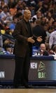 Apr 17, 2013; Dallas, TX, USA; New Orleans Hornets head coach Monty Williams reacts during the game against the Dallas Mavericks at American Airlines Center. Mandatory Credit: Matthew Emmons-USA TODAY Sports