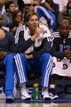 Apr 17, 2013; Dallas, TX, USA; Dallas Mavericks forward Dirk Nowitzki (41) on the bench during the game against the New Orleans Hornets at American Airlines Center. Mandatory Credit: Matthew Emmons-USA TODAY Sports
