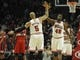 Apr 17, 2013; Chicago, IL, USA; Chicago Bulls power forward Carlos Boozer (5) and Chicago Bulls center Nazr Mohammed (48) celebrate a basket against the Washington Wizards during the first quarter at the United Center. Mandatory Credit: David Banks-USA TODAY Sports