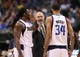 Apr 17, 2013; Dallas, TX, USA; Dallas Mavericks head coach Rick Carlisle yells at forward Brandan Wright (34) and Jae Crowder (9) during a timeout from the game against the New Orleans Hornets at American Airlines Center. Mandatory Credit: Matthew Emmons-USA TODAY Sports