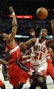 Apr 17, 2013; Chicago, IL, USA; Chicago Bulls small forward Jimmy Butler (21) and Washington Wizards center Jason Collins (98) go for a loose ball during the second half at the United Center. The Chicago Bulls defeated the Washington Wizards 95-92. Mandatory Credit: David Banks-USA TODAY Sports