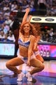 Apr 17, 2013; Dallas, TX, USA; Dallas Mavericks dancers perform during a timeout from the game against the New Orleans Hornets at American Airlines Center. Mandatory Credit: Matthew Emmons-USA TODAY Sports