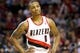 April 17, 2013; Portland, OR, USA; Portland Trail Blazers point guard Damian Lillard (0) pauses during a free throw against Golden State Warriors in the second half at the Rose Garden.  Mandatory Credit: Jaime Valdez-USA TODAY Sports