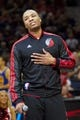April 17, 2013; Portland, OR, USA; Portland Trail Blazers point guard Damian Lillard (0) thanks the Blazers' fans after being named the rookie of the month before the game against the Golden State Warriors game at the Rose Garden.  Mandatory Credit: Jaime Valdez-USA TODAY Sports