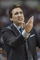 Apr 17, 2013; Sacramento, CA, USA; Los Angeles Clippers head coach Vinny Del Negro reacts to a call during the fourth quarter at the Sleep Train Arena. The Los Angeles Clippers defeated the Sacramento Kings 112-108. Mandatory Credit: Ed Szczepanski-USA TODAY Sports