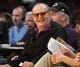 Apr 17, 2013; Los Angeles, CA, USA; Film actor Jack Nicholson reacts during the NBA game between the Houston Rockets and the Los Angeles Lakers at the Staples Center. The Lakers defeated the Rockets 99-95 in overtime. Mandatory Credit: Kirby Lee-USA TODAY Sports
