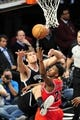 Apr 20, 2013; Brooklyn, NY, USA; Chicago Bulls small forward Jimmy Butler (21) puts up a shot over Brooklyn Nets center Brook Lopez (11) during the second half of game one of the first round of the 2013 NBA Playoffs at the Barclays Center. The Nets won the game 106-89. Mandatory Credit: Joe Camporeale-USA TODAY Sports