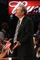 Apr 20, 2013; Brooklyn, NY, USA; Brooklyn Nets head coach P.J. Carlesimo reacts during the fourth quarter against the Chicago Bulls in game one of the first round of the 2013 NBA Playoffs at the Barclays Center. Brooklyn won106-89.  Mandatory Credit: Anthony Gruppuso-USA TODAY Sports