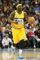 Apr 23, 2013; Denver, CO, USA; Denver Nuggets point guard Ty Lawson (3) controls the ball in the third quarter against the Golden State Warriors during game two in the first round of the 2013 NBA playoffs at the Pepsi Center. The Warriors won 131-117. Mandatory Credit: Isaiah J. Downing-USA TODAY Sports