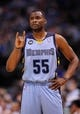 Apr 15, 2013; Dallas, TX, USA; Memphis Grizzlies point guard Keyon Dooling (55) waits for play to resume between the Dallas Mavericks and the Grizzlies at the American Airlines Center. Mandatory Credit: Jerome Miron-USA TODAY Sports