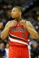Apr 14, 2013; Denver, CO, USA; Portland Trailblazers guard Damian Lillard (0) during the first half against the Denver Nuggets at the Pepsi Center. Mandatory Credit: Chris Humphreys-USA TODAY Sports