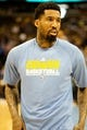Apr 14, 2013; Denver, CO, USA; Denver Nuggets forward Wilson Chandler (21) warms up before the first half against the Portland Trailblazers at the Pepsi Center. Mandatory Credit: Chris Humphreys-USA TODAY Sports