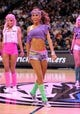 Apr 10, 2013; Dallas, TX, USA; The Dallas Mavericks dancers perform during a timeout in the game between the Mavericks and the Phoenix Suns at the American Airlines Center. The Suns defeated the Mavericks 102-91. Mandatory Credit: Jerome Miron-USA TODAY Sports