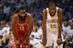 Apr 24, 2013; Oklahoma City, OK, USA; Houston Rockets guard James Harden (13) talks with Oklahoma City Thunder forward Kevin Durant in the second half during game two of the first round of the 2013 NBA Playoffs at Chesapeake Energy Arena. Mandatory Credit: Mark D. Smith-USA TODAY Sports