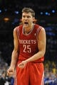 Apr 24, 2013; Oklahoma City, OK, USA; Houston Rockets forward Chandler Parsons (25) reacts to a play in action against the Oklahoma City Thunder in the second half during game two of the first round of the 2013 NBA Playoffs at Chesapeake Energy Arena. Mandatory Credit: Mark D. Smith-USA TODAY Sports