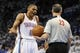 Apr 24, 2013; Oklahoma City, OK, USA; Oklahoma City Thunder guard Russell Westbrook (0) talks to NBA official Jason Phillips during play against the Houston Rockets in the second half during game two of the first round of the 2013 NBA Playoffs at Chesapeake Energy Arena. Mandatory Credit: Mark D. Smith-USA TODAY Sports