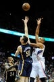 Apr 27, 2013; Atlanta, GA, USA; Atlanta Hawks center Al Horford (15) shoots over Indiana Pacers power forward Tyler Hansbrough (50) during the first half during game three in the first round of the 2013 NBA playoffs at Philips Arena. Mandatory Credit: Dale Zanine-USA TODAY Sports