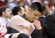Apr 27, 2013; Houston, TX, USA; Houston Rockets point guard Jeremy Lin (7) sits on the bench during the second quarter against the Oklahoma City Thunder during game three in the first round of the 2013 NBA playoffs at the Toyota Center. Mandatory Credit: Troy Taormina-USA TODAY Sports