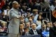 Apr 27, 2013; Atlanta, GA, USA; Atlanta Hawks head coach Larry Drew reacts to a play during the first half of game three of the first round of the 2013 NBA playoffs against the Indiana Pacers at Philips Arena.The Hawks defeated the Pacers 90-69. Mandatory Credit: Dale Zanine-USA TODAY Sports