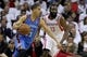 Apr 27, 2013; Houston, TX, USA; Oklahoma City Thunder shooting guard Kevin Martin (23) drives the ball past Houston Rockets shooting guard James Harden (13) during the first quarter of game three of the first round of the 2013 NBA playoffs at the Toyota Center. Mandatory Credit: Troy Taormina-USA TODAY Sports