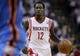 Apr 27, 2013; Houston, TX, USA; Houston Rockets point guard Patrick Beverley (12) brings the ball up the court during the first quarter against the Oklahoma City Thunder in game three of the first round of the 2013 NBA playoffs at the Toyota Center. Mandatory Credit: Troy Taormina-USA TODAY Sports