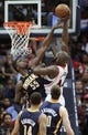Apr 29, 2013; Atlanta, GA, USA; Atlanta Hawks forward Ivan Johnson (44) shoots over Indiana Pacers center Roy Hibbert (55) in game four of the first round of the 2013 NBA playoffs at Philips Arena. Mandatory Credit: Marvin Gentry-USA TODAY Sports