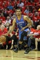 Apr 29, 2013; Houston, TX, USA; Oklahoma City Thunder shooting guard Thabo Sefolosha (2) drives to the basket against the Houston Rockets in the third quarter in game four of the first round of the 2013 NBA playoffs at the Toyota Center. The Rockets defeated the Thunder 105-103. Mandatory Credit: Brett Davis-USA TODAY Sports