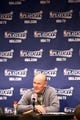 Apr 30, 2013; Denver, CO, USA; Denver Nuggets head coach George Karl talks during a press conference following the game against the Golden State Warriors in game five of the first round of the 2013 NBA Playoffs at the Pepsi Center. The Nuggets won 107-100. Mandatory Credit: Isaiah J. Downing-USA TODAY Sports
