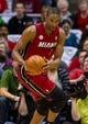 Apr 25, 2013; Milwaukee, WI, USA; Miami Heat center Chris Bosh (1) during game three of the first round of the 2013 NBA playoffs against the Milwaukee Bucks at BMO Harris Bradley Center.  Miami won 104-91.  Mandatory Credit: Jeff Hanisch-USA TODAY Sports