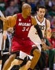 Apr 25, 2013; Milwaukee, WI, USA; Miami Heat guard Ray Allen (34) during game three of the first round of the 2013 NBA playoffs against the Milwaukee Bucks at BMO Harris Bradley Center.  Miami won 104-91.  Mandatory Credit: Jeff Hanisch-USA TODAY Sports