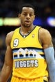 Apr 23, 2013; Denver, CO, USA; Denver Nuggets shooting guard Andre Iguodala (9) in the third quarter against the Golden State Warriors during game two in the first round of the 2013 NBA playoffs at the Pepsi Center. The Warriors won 131-117. Mandatory Credit: Isaiah J. Downing-USA TODAY Sports