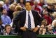 Apr 25, 2013; Milwaukee, WI, USA; Miami Heat head coach Erik Spoelstra during game three of the first round of the 2013 NBA playoffs against the Milwaukee Bucks at BMO Harris Bradley Center.  Miami won 104-91.  Mandatory Credit: Jeff Hanisch-USA TODAY Sports